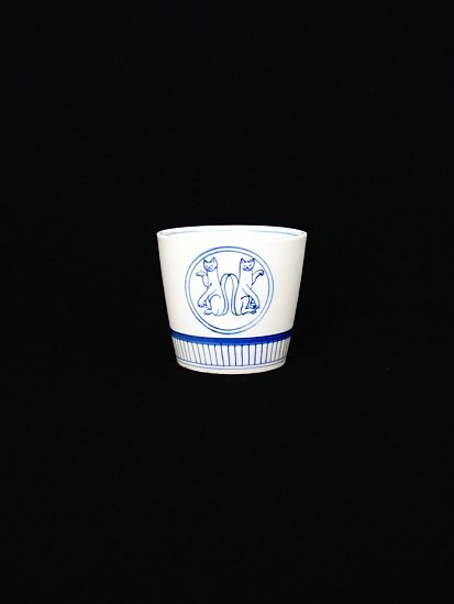 [ 晶 ]蕎麦猪口 丸紋 招き猫(還元)#2