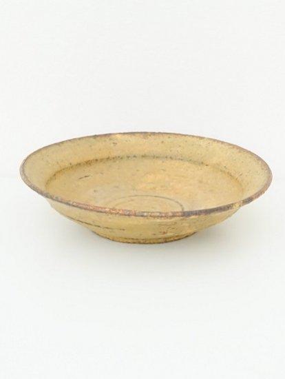 [ 田鶴濱守人 ]枯黄釉8寸段付き鉢