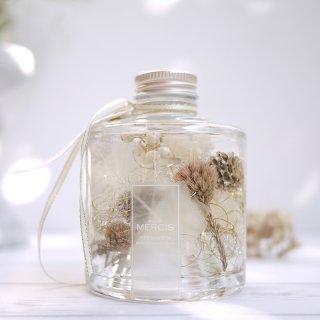 【ハーバリウム】『THE FOREST』ピュアホワイトボトル LEDティーライトキャンドル付き