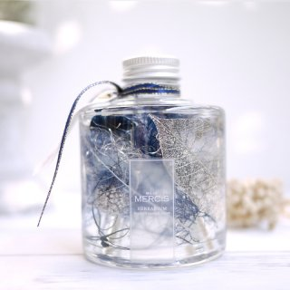 【ハーバリウム】『THE FOREST』エターナルブルーボトル LEDティーライトキャンドル付き