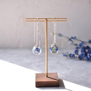 【ガラスドームピアス】シルバー925(SV925)『DROPS』碧のしずく 〜ハーバリウム・デルフィニウム〜