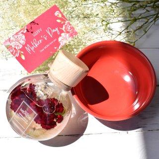 MiLLE MERCiS×櫻花屋之箱*母の日コラボ【限定ハーバリウム】『BLOOMING GARDENカーネーション・レッド』&【美濃焼き】「器 花鳥風月」小鉢1個