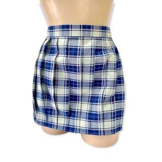 チェック柄プリーツスカート(白×青)