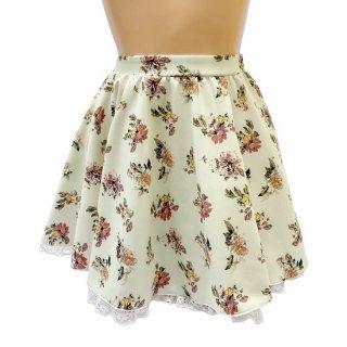 【オリジナル】大きめサイズ!花柄レース付きフレアースカート 【全2色】