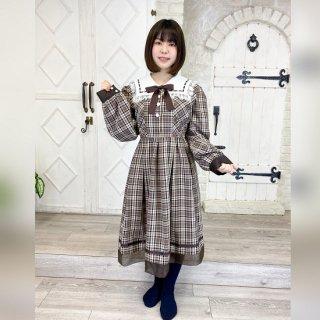 【オリジナル】 大きめサイズ茶チェック長袖ワンピース