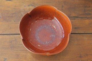 柿釉花型鉢(京焼)
