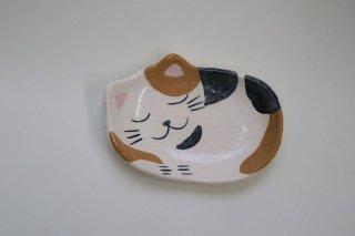 眠り猫(三毛)楽小皿(楽入窯・京都)