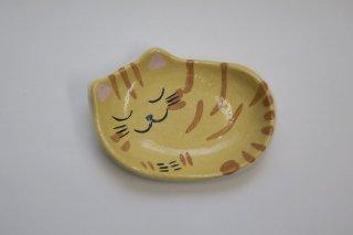 眠り猫(トラ)楽小皿(楽入窯・京都)