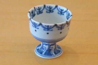 染付瓔珞紋馬上杯(九谷)