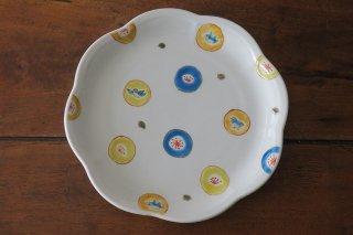 丸紋水玉7寸皿(九谷焼)