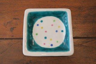 色ちらし角皿・緑(九谷焼)