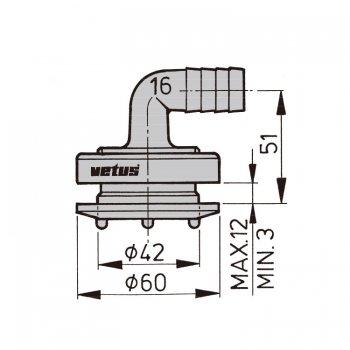 600839<br>Vetus フレキシブルタンクフィッテイング 16mm エルボ (1個)<br>(FT16B)