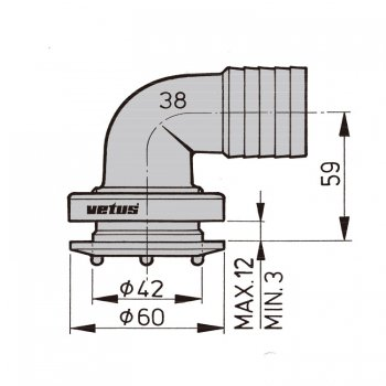 600842<br>Vetus フレキシブルタンクフィッテイング 38mm エルボ (1個)<br>(FT38B)