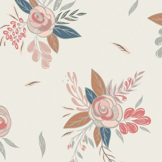 <img class='new_mark_img1' src='https://img.shop-pro.jp/img/new/icons3.gif' style='border:none;display:inline;margin:0px;padding:0px;width:auto;' />LCT-15503 Montrose Blossoms Creme- Little Clementine コットン100%