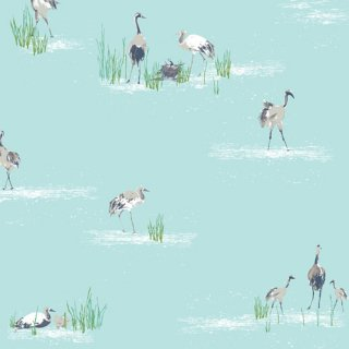<img class='new_mark_img1' src='https://img.shop-pro.jp/img/new/icons3.gif' style='border:none;display:inline;margin:0px;padding:0px;width:auto;' />FSH-17405 Wandering Cranes - Floralish コットン100%