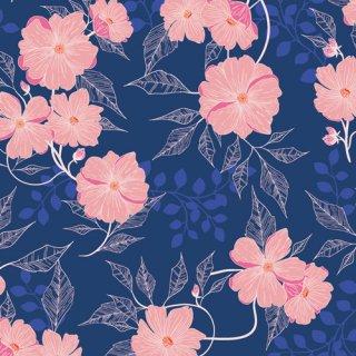 FWR-34890 Midnight Garden -Flowerette  コットン100%
