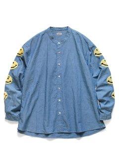 KAPITAL(キャピタル)シャンブレー バンドカラーシャツ(スマイル刺繍)