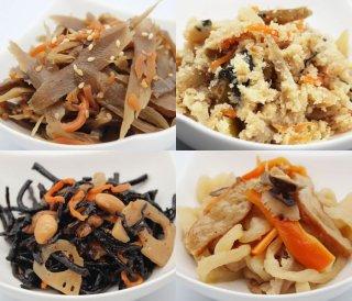 お惣菜セット[卯の花、ささがき、切干大根煮、ひじきの煮物]4種 各120g|食卓応援! おいしい、簡単、手間いらず惣菜セット