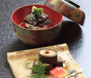 日本料理 ひら井 子持ち鮎昆布巻き・お茶漬け鰻 2本セット(化粧箱入り)「ゴ・エ・ミヨ2019、2020にて3トック獲得」