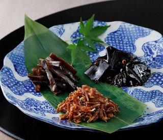 料亭蔦茂|味3点セット しらす山椒煮、きゃらぶき、山椒昆布のセット|「大正2年創業」