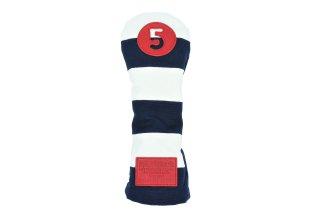 5番フェアウェーウッド用ヘッドカバーNW  帆布キャンバスシリーズ ボーダー