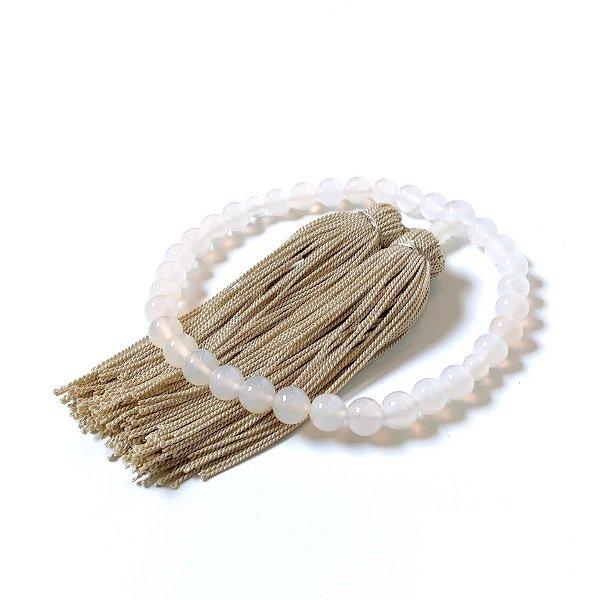 【数珠/白めのう 8mm】念珠<br>白く艶のある、美しい白めのうだけを揃えました…<br>数珠/念珠/めのう/白めのう