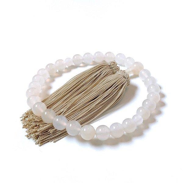 【白めのう 数珠 10mm】念珠<br>白く艶のある、美しい白めのうだけを揃えました…<br>数珠/念珠/めのう/白めのう