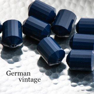 ドイツヴィンテージビーズ 多面カット円柱型 ネイビー 2個  アクリルビーズ  ルーサイトビーズ