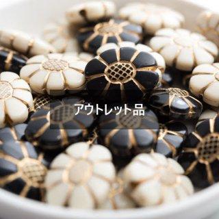 【B品】アンティーク調 ビーズ フラワー 20個 ゴールドライン アクリルビーズ 花