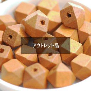 【B品】ウッドビーズ 多面カット 14個 ウッドパーツ 多角形 スクエアビーズ