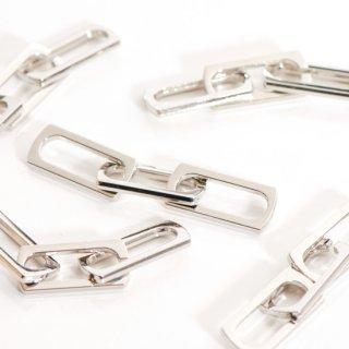 合金3連チェーンパーツ コネクター シルバー 4個 メタルパーツ チャーム 鎖