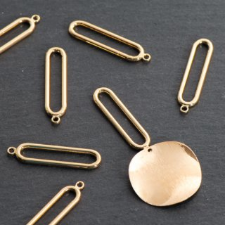 スリム楕円リングチャーム 8個  ゴールド チャーム フープ メタルパーツ