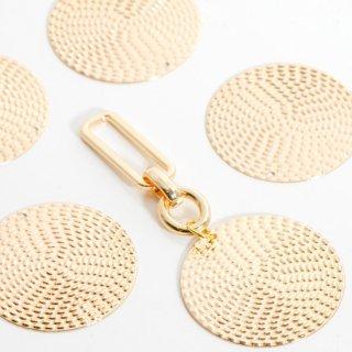 銅製ラウンドプレート網目風チャーム 4個  ゴールド メタルパーツ ディスク コイン