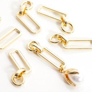 合金2連リングパーツ コネクター ゴールド 4個 メタルパーツ チャーム フープ