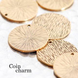 真鍮ラウンドプレートチャーム 2個 両面柄入り コイン  ゴールド メタルパーツ ディスク リバーシブル