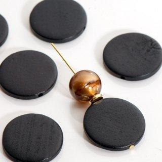 ウッドビーズ フラットラウンド 30mm  黒 ウッドパーツ コイン型