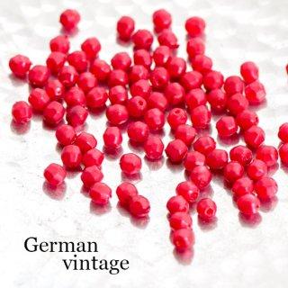 ドイツヴィンテージビーズ 多角形4ミリ 赤 30個  アクリルビーズ  ルーサイトビーズ スペーサー