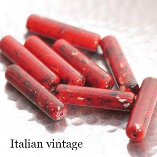イタリアヴィンテービーズ 大理石風チューブ 赤 2個