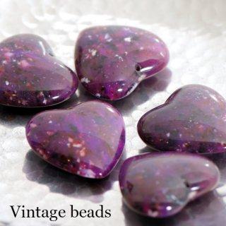 ヴィンテージビーズ 大理石風 ハート 紫 1個 ルーサイト アクリルビーズ