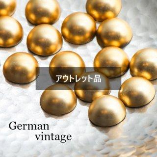 【B品】ドイツヴィンテージカボション ぷっくりマットゴールド 6個  ルーサイト