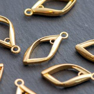 ダイヤ型リングチャーム ゴールド 4個 メタルパーツ