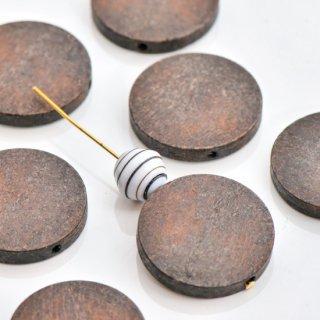 【訳あり】ウッドビーズ フラットラウンド ダークブラウン 30mm  ウッドパーツ コイン型