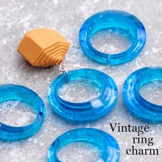 ヴィンテージリングチャーム ブルー 1つ穴 2個  アクリルビーズ  ルーサイト フープ ヴィンテージビーズ 青