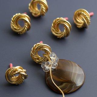 メビウスボールのピアスパーツ ゴールド ポストピアス フープ ピアス金具 ピアス芯 螺旋 スパイラル フープ メタルパーツ