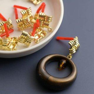 網代文様のスクエアピアスパーツ ゴールド 6個 ポストピアス ピアス金具 ピアス芯 メタルパーツ
