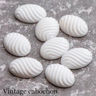 ヴィンテージカボション 白 波筋模様 アクリル  ルーサイト 貼り付けパーツ ホワイト