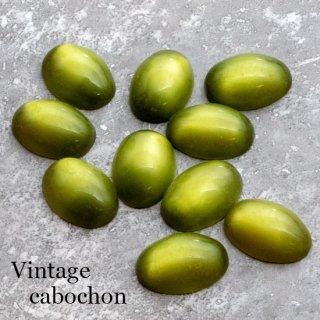 ヴィンテージカボション オリーブ ムーングロー 小さ目オーバル アクリル  ルーサイト アクリル 黄緑