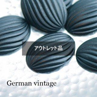 【B品】ドイツヴィンテージカボション オーバル マットブラック 2個  ルーサイト