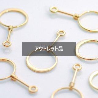 【B品】ねじりリングチャーム 6個 ゴールド メタルパーツ
