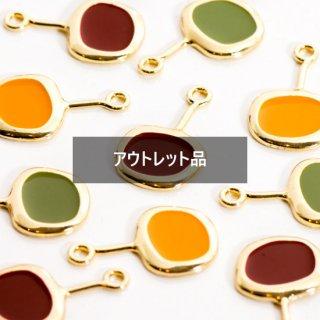 【B品】3色の手書きフライパン風チャーム 8個 メタルパーツ